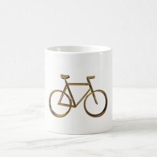 Cycliste de recyclage de bicyclette d'or élégante mug