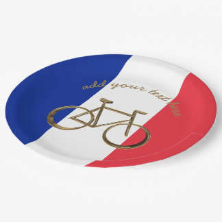 Cycliste de recyclage de drapeau de la France de Assiettes En Papier