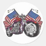 Cycliste des Etats-Unis Sticker Rond
