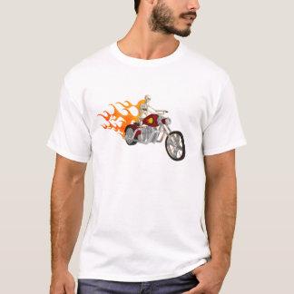 Cycliste et flammes squelettiques : T-shirt