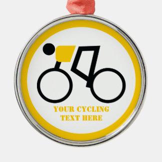 Cycliste montant sa coutume de bicyclette ornement rond argenté
