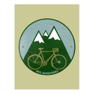 cyclistes aventure, montagnes carte postale