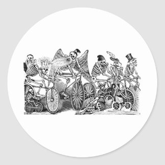 Cyclistes de Calavera circa 1800's en retard Adhésifs Ronds
