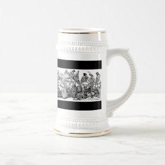 Cyclistes de Calavera circa 1800's en retard Chope À Bière