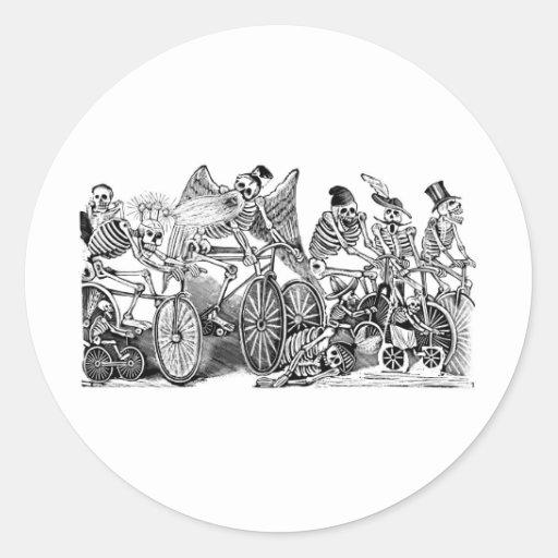 Cyclistes de Calavera circa 1800's en retard Mexiq Adhésifs Ronds
