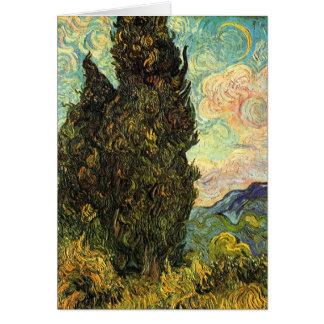Cyprès de Van Gogh, beaux-arts vintages de paysage Carte De Vœux
