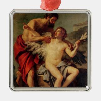 Daedalus attachant les ailes d'Icare, c.1754 Ornement Carré Argenté