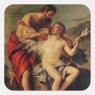 Daedalus attachant les ailes d'Icare, c.1754 Sticker Carré