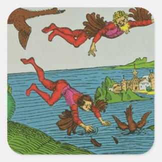 Daedalus et Icare, XVème siècle Sticker Carré