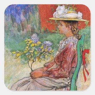 Dagmar tenant des fleurs stickers carrés