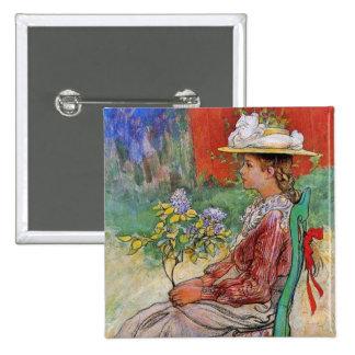 Dagmar tenant des fleurs badge