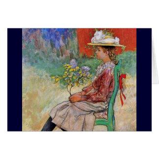 Dagmar tenant des fleurs carte de vœux