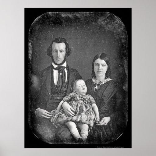 Daguerréotype 1846 de famille d'Adams Affiche