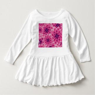 Dahlia coloré de pourpre de motif d'été robe manches longues