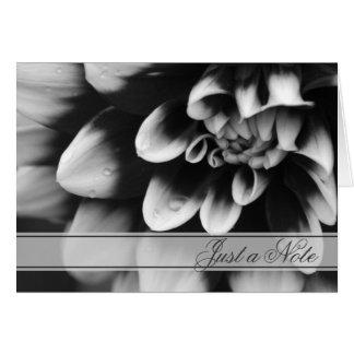 Dahlia noir et blanc juste une carte de note