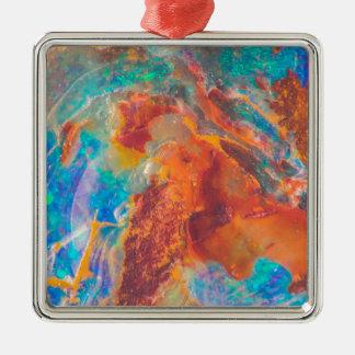 Dalle opale de marbre d'agate ornement carré argenté