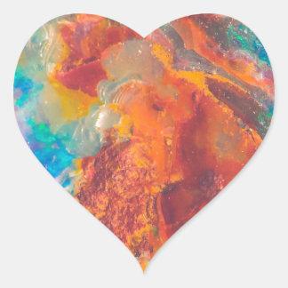 Dalle opale de marbre d'agate sticker cœur
