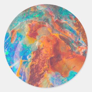 Dalle opale de marbre d'agate sticker rond