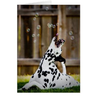 Dalmate avec des bulles carte de vœux
