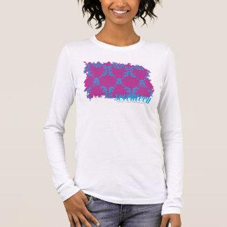 Damassé 2 Aqua-Pourpres T-shirt À Manches Longues