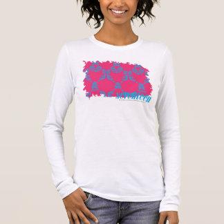 Damassé 3 Aqua-Magenta T-shirt À Manches Longues