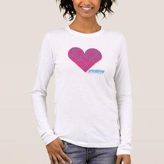 Damassé 4 Aqua-Magenta T-shirt À Manches Longues
