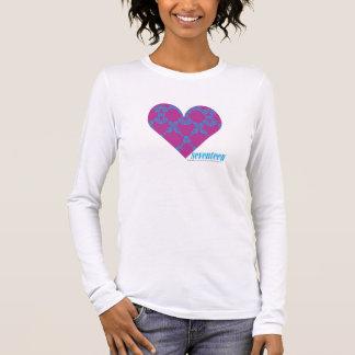 Damassé 4 Aqua-Pourpres T-shirt À Manches Longues