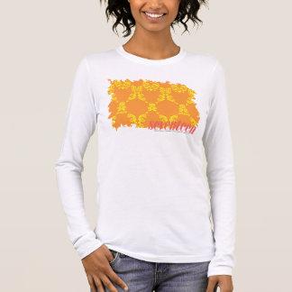 Damassé 4 jaune-orange t-shirt à manches longues
