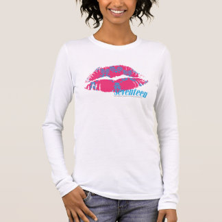 Damassé Aqua-Magenta T-shirt À Manches Longues