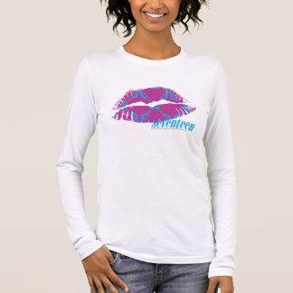 Damassé Aqua-Pourpre T-shirt À Manches Longues