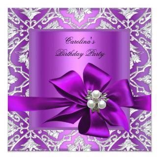 Damassé argentée pourpre de perle de fête carton d'invitation  13,33 cm