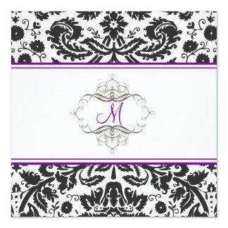 Damassé baroque de dentelle/invitations pourpres carton d'invitation  13,33 cm