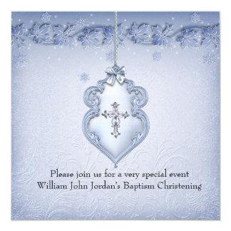 Damassé blanche bleue de garçon de croix de bijou carton d'invitation  13,33 cm