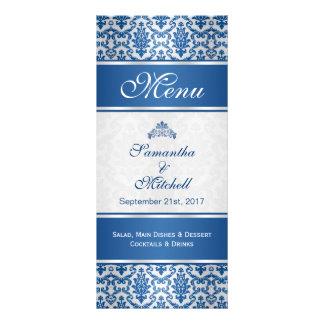 Damassé bleu-foncé sur le menu argenté cartes doubles