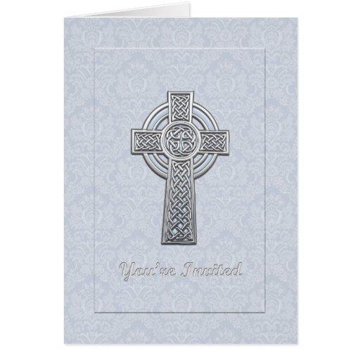 Damassé bleue de baptême avec la croix argentée cartes de vœux