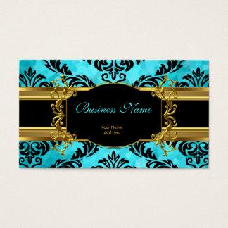 Damassé bleue turquoise chique élégante d'or cartes de visite