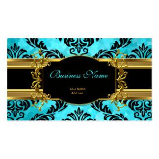 Damassé bleue turquoise chique élégante d'or flora carte de visite standard
