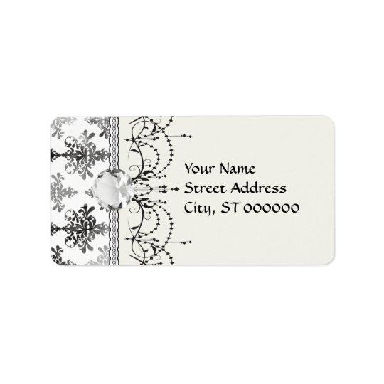 damassé complexe blanche noire affligée étiquette d'adresse
