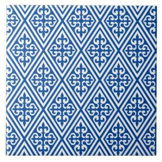 Damassé croisée médiévale - bleu et blanc de carreau