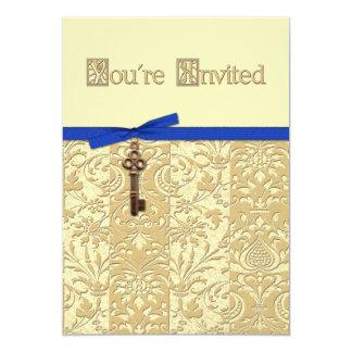 Damassé de l'or 3D avec l'invitation principal de Carton D'invitation 12,7 Cm X 17,78 Cm
