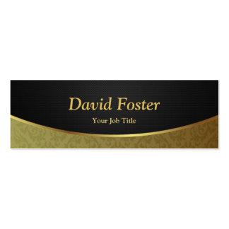 Damassé de luxe élégante de noir et d'or carte de visite petit format