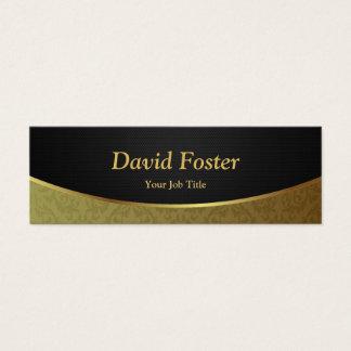 Damassé de luxe élégante de noir et d'or mini carte de visite