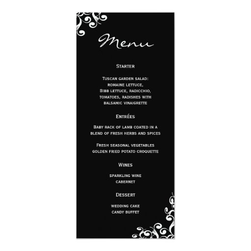 Damassé de menu de mariage carton d'invitation  10,16 cm x 23,49 cm