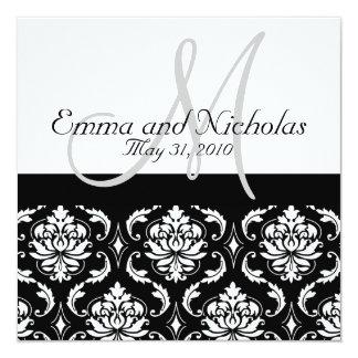 Damassé de monogramme d'invitations de mariage carton d'invitation  13,33 cm