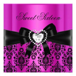 Damassé de noir de rose de fête d anniversaire du invitations personnalisées