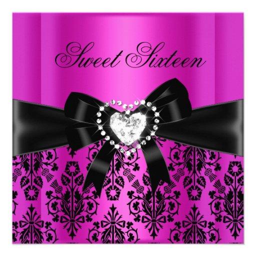 Damassé de noir de rose de fête d'anniversaire du  invitations personnalisées