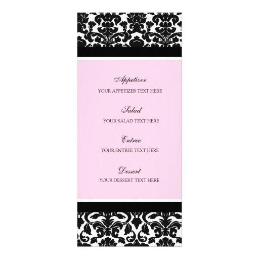Damassé de noir de rose de menu de mariage double cartes customisées