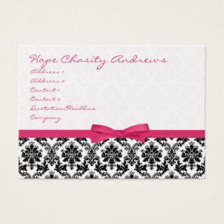 Damassé de noir de ruban de chèvrefeuille florale cartes de visite