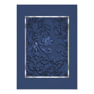 Damassé de relief métallique de regard dans le carton d'invitation  12,7 cm x 17,78 cm