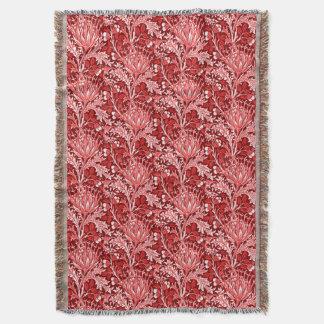 Damassé de William Morris, rouge foncé et blanc Couverture